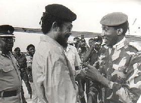 Thomas Sankara en compagnie de John Jerry Rawlings, le sauveur du Ghana
