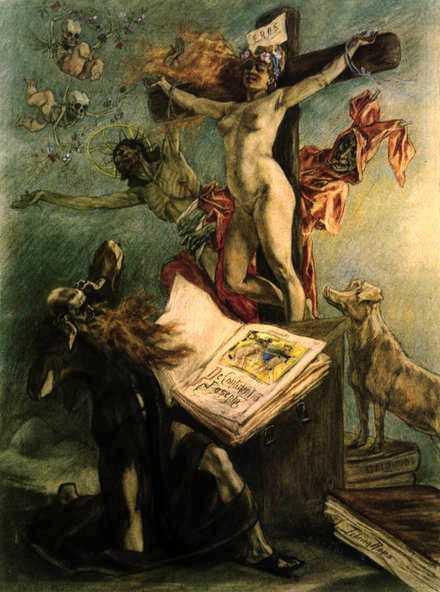Félicien Rops, 1878, La tentation de St Antoine: «Supprimez la tentation et personne ne sera sauvé»