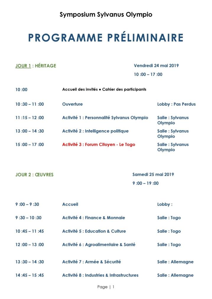 Symposium Sylvanus Olympio - Programme Préliminaire