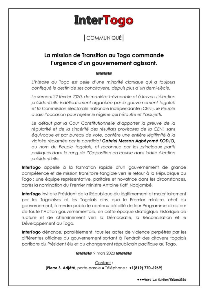 Togo... Un Gouvernement Agissant