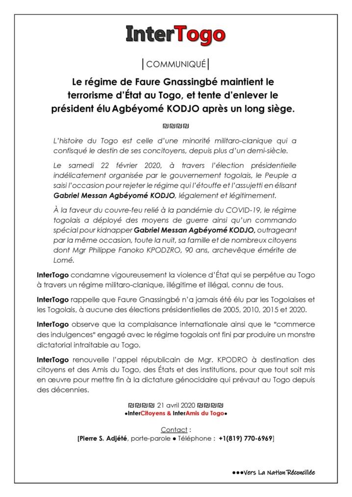 Togo... Terrorisme d'État