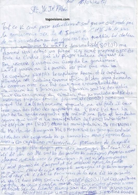 Lettre d'un torturé… Je Vous Aime tousse