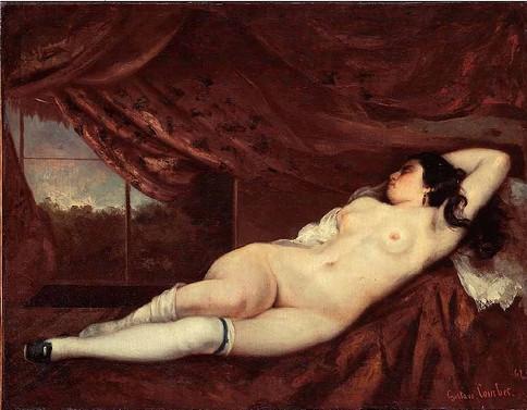 Courbet, Femme nue couchée. Fuit-elle le regard des autres?