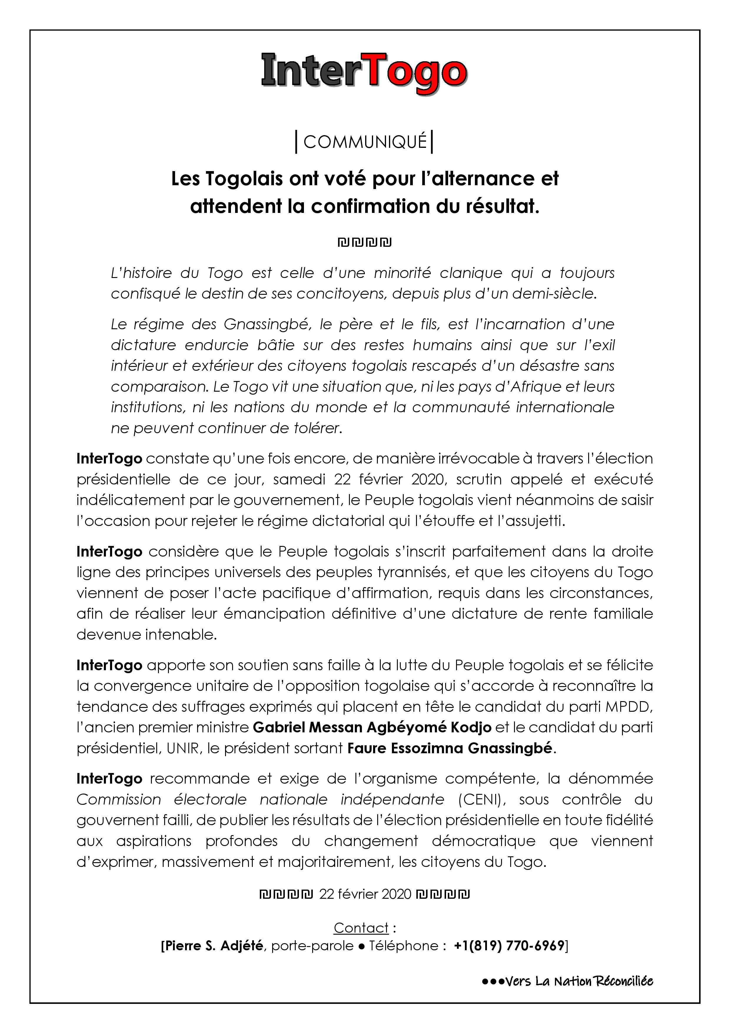 Les Togolais ont voté pour l'alternance et attendent la confirmation du résultat.