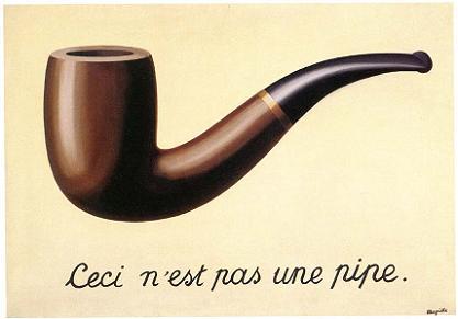 © René Magritte, La Trahison des images : « Ceci n'est pas une pipe. », 1928.